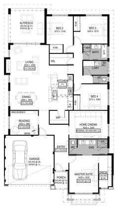 Pescara Home Design Duplex Floor Plans, Home Design Floor Plans, Bedroom Floor Plans, House Floor Plans, Indoor Movie Night, Home Cinema Room, Mountain House Plans, Two Storey House, Floor Layout