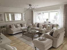 Living Room Design Ideas-- 2 sofas and one large loveseat Cream Living Room Decor, Beige Living Rooms, Rugs In Living Room, Living Room Interior, Home And Living, Living Room Furniture, Living Room Designs, Home Furniture, Family Room Decorating