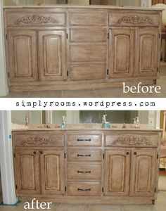 Project: Transforming builder grade cabinets to Old World (ASCP Old White with Dark Walnut glaze) « Simply Rooms (by design)