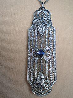 Art Deco Sterling Filigree Necklace/Brooch