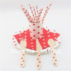 Polka DOt Dinner Set  Paper Plates Paper Cups Paper Straws Paper Napkins Wooden Cutlery Yellow Pink Green BlueRed FREE SHIPPING $423.00