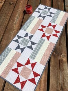 Digital Pattern: Stars and Bars Quilt Pattern-yardage fat image 1 Table Topper Patterns, Quilted Table Toppers, Table Runner And Placemats, Quilted Table Runners, Quilted Table Runner Patterns, Patchwork Table Runner, Scrap Quilt Patterns, Pattern Blocks, Small Quilts