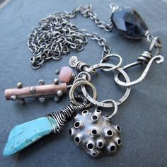 artdi Sterling Charm Necklace Wire Wrapped gemstone Cluster Trinket Sea Life Beach Inspired Blue