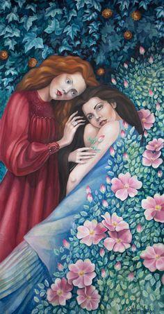 Snow White and Rose Red by Lanevska on DeviantArt Orange Flowers, Red Roses, White Gouache, Surreal Art, Female Art, Surrealism, Snow White, Watercolor, Deviantart