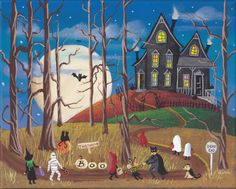 The House at the End of the Road Folk Art Halloween Print