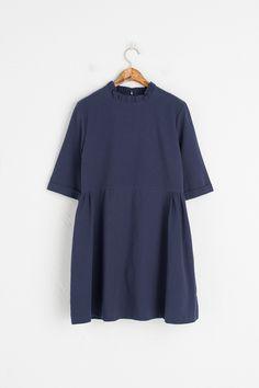 Frill Neck Slim Fit Mini Dress, Navy