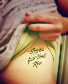 """Muzica este viaţa mea"" = Music is my life Tattoo Skin, I Tattoo, Tattoo Quotes, Word Tattoos, Body Art Tattoos, Tatoos, Beautiful Tattoos, Awesome Tattoos, Piercing Tattoo"