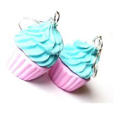 Cupcake Earrings Polymer Clay Pink Blue Cupcake, Dangle Earrings Kawaii Jewelry Fun Earrings