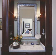 Bathroom Sinks Jamaica elegant bathroom with double sinks and marble countertops in