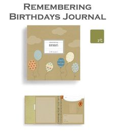 Capture each birthday celebration using this interactive, guided journal. First, relish in the moment, then cherish the memories by creating a treasure of party photos, birthday cards and mementos from the baby years up to early adulthood.