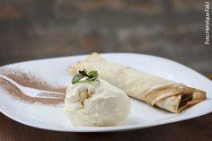 Bistrô 361 (jantar) Panqueca de banana com doce de leite argentino e sorvete de creme