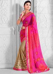 Pink & Light Coffee Color Georgette Festival & Function Sarees : Rajvi Collection YF-27314