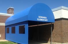 Gowanda Elementary #jamestownawning #entranceawnings #getcovered #undercover #curtain #commercialawning