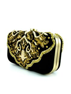 Black Velvet Clutch with Zardosi Embroidery - Desi Royale  - 2