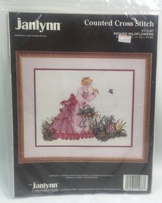 Vtg Janlynn Counted Cross Stitch Picking Wildflowers 112 87 Aida Victorian Lady | eBay