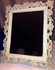 Vintage Shabby Chippy Chic Easel Back Or Wall Mirror Floral Syroco