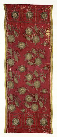 An Ottoman silk and gilt thread embroidered Panel Turkey, 19th Century