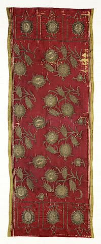 An Ottoman silk and gilt thread embroidered Panel Turkey, 19th Century