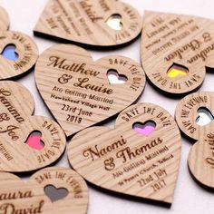 Wood Save the date, wooden save the dates, wooden wedding magnets, Rustic save the dates, coloured heart save the date by NIVIDESIGN1 on Etsy