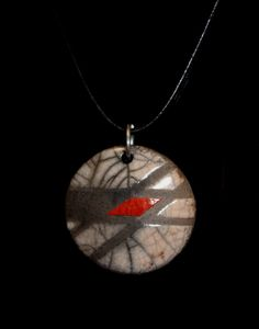 Round Raku Pendant Necklace by julianopottery on Etsy, $15.00