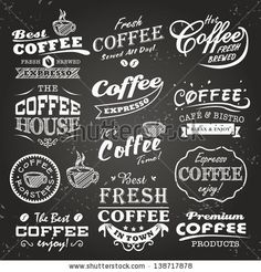 Collection of coffee shop sketches, labels and typography design on a chalkboard background - stock vector