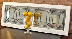 Vintage Decorative Wall Mirror - Repurposed Leaded Glass Window Frame. $350.00, via Etsy.