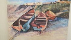 Boats on the shore.  Acrylic on boxed canvas.  610mmx610mm.  R1,900
