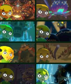 "The Legend of Zelda: The Wind Waker HD /  Toon Link, Gohma, Kalle Demos, Gohdan, Helmaroc King, Jalhalla, Molgera, Puppet Ganon, and Ganondorf / ""this is my legacy"" by bobacupcake on Tumblr"