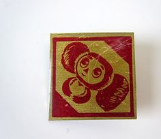 Vintage pin with famous Cheburashka, made in USSR