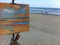 Progress on the painting of Corolla beach. Catepetl Art and Frame  Anne Gibson Snyder