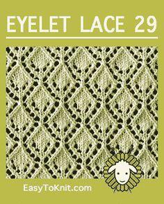 Eyelet Lace Openwork Diamond - Easy To Knit Lace Knitting Stitches, Baby Boy Knitting Patterns, Knitting Machine Patterns, Knitting Yarn, Lace Patterns, Stitch Patterns, Crochet Patterns, Eyelet Lace, Knit Crochet