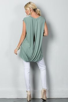 Our Top Seller is the Draping Beauty tunic! You are going to love the luxurious feeling of the material along with the draping, open back.     *Limited Quantities       	Material: 95% Viscose, 5% Lycra  	Care: Gentle Cycle Cold Water  	Fit: True to Size   | Shop this product here: spree.to/597 | Shop all of our products at http://spreesy.com/lagildedmuse    | Pinterest selling powered by Spreesy.com