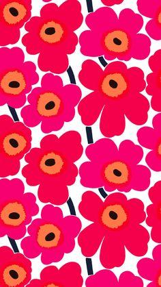 Marimekko Pieni Unikko x Floral Wallpaper Color: Purple / Red Wallpaper Color, Marimekko Wallpaper, Graphic Wallpaper, Nature Wallpaper, Wall Wallpaper, Pattern Wallpaper, Iphone Wallpaper, Moomin Wallpaper, New Wall