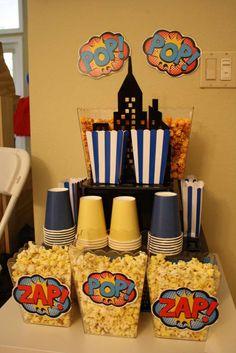Batgirl party - gotham treat tower. #popcorn station #superhero #birthday