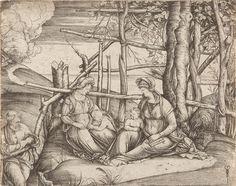 """Jacopo de Barbari  um 11440/1450 Venedig – Mecheln um 1516 Die heilige Familie mit der heiligen Elisabeth und dem  Johannesknaben. Kupferstich auf Bütten mit Wz. """"Gotisches P mit Vierblatt"""" (ähnlich Briquet 8652, dort datiert um 1494-97). 13,1 : 16,5 cm (Blattgröße)."""