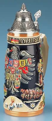 Deutschland Beer Stein - crests - great decoration for the family castle