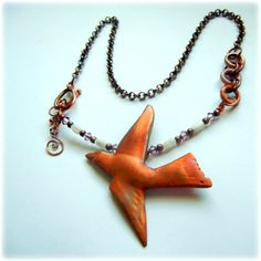 copper soaring bird necklace I made with Cinter copper clay powder