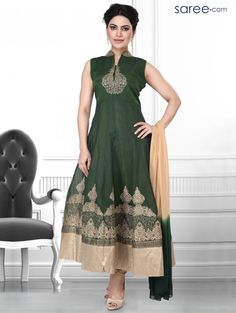 GREEN ART SILK SUIT WITH EMBROIDERY WORK