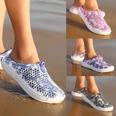 2017 Women Summer Crocs Beach Sandals Hollow-out Shoes Casual Breathable slippers Slip-on Flats Shoes Beach Shoes, Beach Sandals, Summer Sandals, Summer Shoes, Chef Shoes, Grey Sandals, Women's Summer Fashion, Style Fashion, Fashion Women