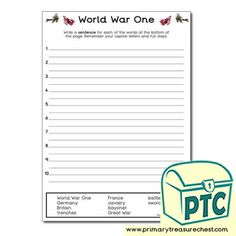 World War One Teaching Activities, Teaching Ideas, Ourselves Topic, World War One, Role Play, Sentences, Worksheets, Saints, Crafts For Kids