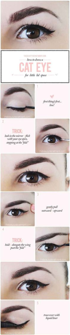 A cat eye is probably the biggest struggle for small-lidded ladies, but here's a quick and easy trick.
