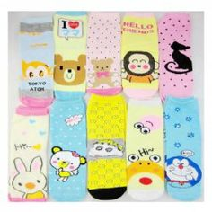 $1.43 Korean Comfortable and Lovely Style Cartoon Pattern Embellished Socks