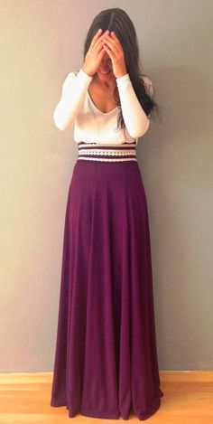 Sweet Combo Sleeved Blouse with Maxi Skirt and Fancy Belt.