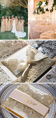Beige and gold neutral color glam wedding theme and invitations #EWI #weddingcolors #weddingthemes #weddinginvitations Wedding Themes, Wedding Colors, Laser Cut Wedding Invitations, Neutral Colors, Wedding Bells, Wedding Details, Rustic Wedding, Abstract Oil, Super