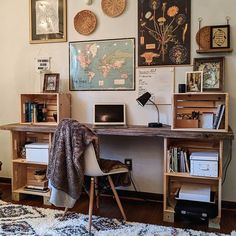 eclectic boho office via Home Office Space, Home Office Design, Home Office Decor, Office Ideas, Home Decor, Home Bedroom, Bedroom Decor, Crate Desk, Bedroom Wall Collage