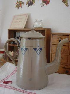 Jugendstil / ArtDeco Emaille Kanne,  Kaffeekanne