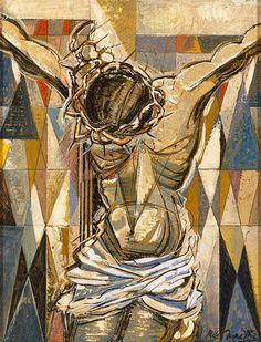 Jesus Christ God the Father Holy Spirit Crucifixion, Roy de Maistre Crucifixion Painting, Crucifixion Of Jesus, Jesus Painting, Painting & Drawing, Christian Images, Christian Art, Catholic Art, Religious Art, Croix Christ