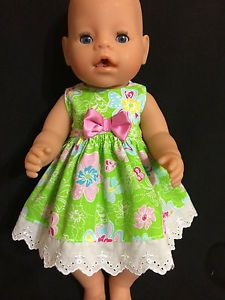 Dolls Clothes Made TO FIT 42cm Baby Born Dolls Size MED Sleeveless Dress | eBay