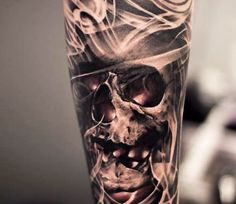 Skull tattoo art by Oscar Akermo