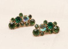 Green Rhinestone Karu Arke GoldToned Earrings  Vintage by Eekmaus, $30.00